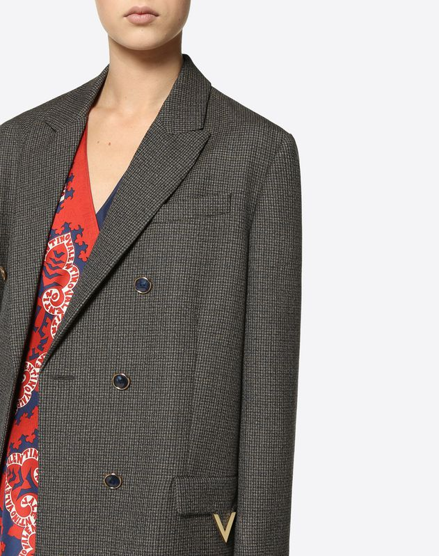 Twisted Houndstooth Blazer with Gold V Details