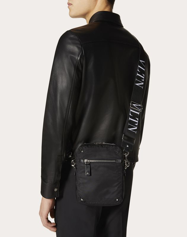 NYLON SHOULDER BAG WITH VLTN RIBBON STRAP