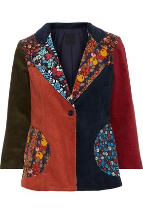 ANNA SUI Patchwork cotton-corduroy jacket