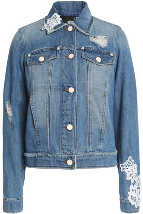 LOVE MOSCHINO Appliquéd distressed denim jacket