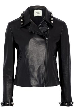FENDI Studded leather biker jacket