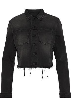 L'AGENCE Zuma lace-up cropped denim jacket