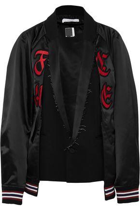 FACETASM Felt-paneled appliquéd wool-blend satin bomber jacket