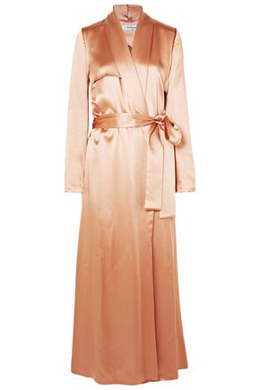 GALVAN  London Belted silk-satin coat