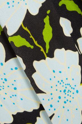 OFF-WHITE™ Appliquéd floral-print satin wrap dress