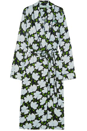 OFF-WHITE™ Appliquéd floral-print satin wrap dress