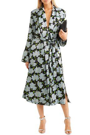 OFF-WHITE™ Appliquéd floral-print satin wrap dress a871f8ab6