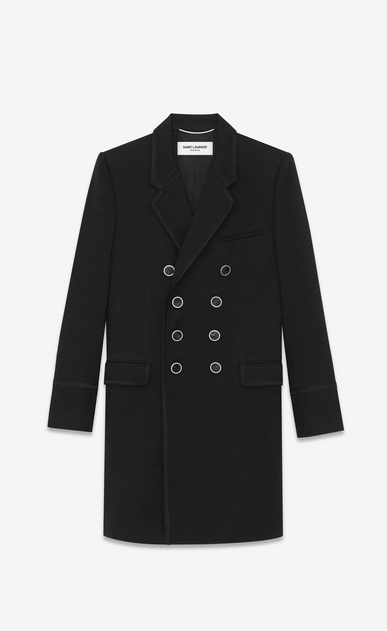Officer's coat in cashmere jacquard with zigzag braiding