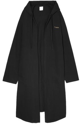 VETEMENTS Oversized hooded printed cotton-jersey coat