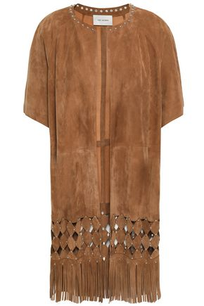 YVES SALOMON Noisette embellished cutout fringed suede jacket