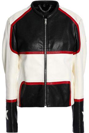 BELSTAFF Whitaker embellished color-block leather jacket