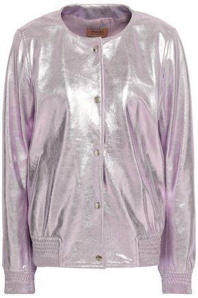 METEO by YVES SALOMON Metallic leather bomber jacket
