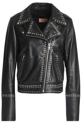 METEO by YVES SALOMON Studded leather biker jacket