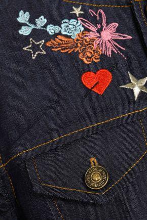CINQ À SEPT Lina ruffle-trimmed embroidered denim jacket