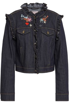 CINQ À SEPT Lina ruffle-trimmed embroidered denim jacket
