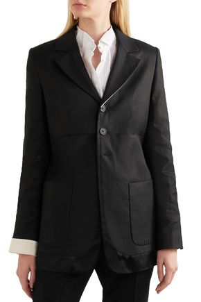 ANN DEMEULEMEESTER Satin-trimmed linen-blend twill blazer