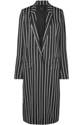 Haider Ackermann HAIDER ACKERMANN WOMAN STRIPED MATTE-SATIN COAT BLACK
