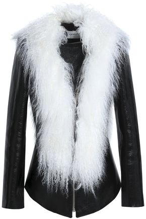 LANVIN Shearling and patent leather-paneled jacket