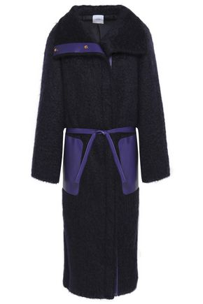 AGNONA Leather-trimmed mohair-blend coat