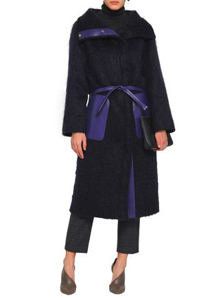 AGNONA Leather-trimmed mohair-blend coat