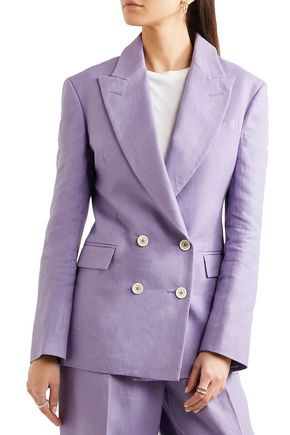 HILLIER BARTLEY Double-breasted linen blazer