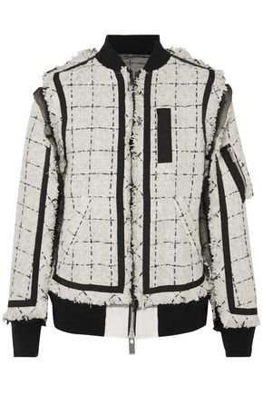 SACAI Chiffon-trimmed frayed tweed jacket