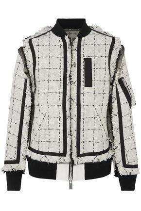 SACAI Oversized grosgrain-trimmed tweed bomber jacket