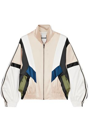 KOCHÉ Color-block satin jacket