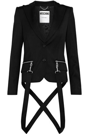 MOSCHINO Embellished wool-blend twill blazer