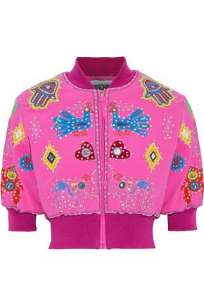 MOSCHINO Cropped appliquéd crepe bomber jacket