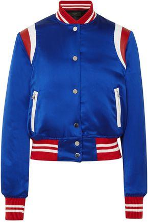 AMIRI Leather-trimmed silk-satin bomber jacket