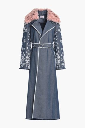 CINQ À SEPT Shearling-trimmed embroidered denim trench coat