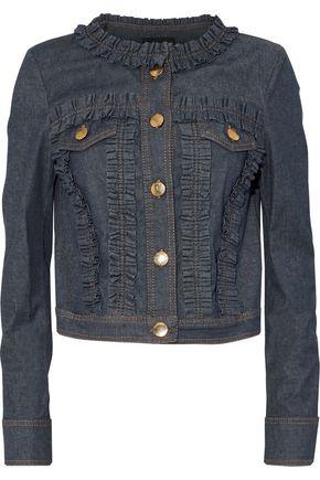 BOUTIQUE MOSCHINO Ruffle-trimmed denim jacket