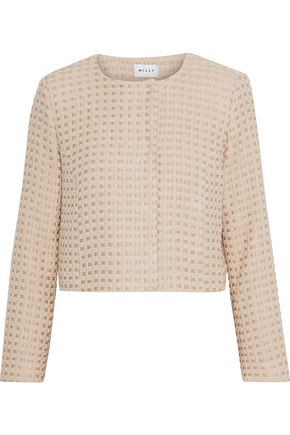 MILLY Cropped metallic wool-blend tweed jacket