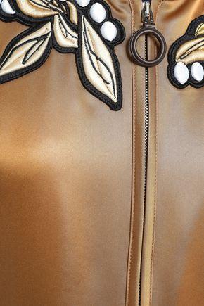 MARCO DE VINCENZO Appliquéd satin bomber jacket