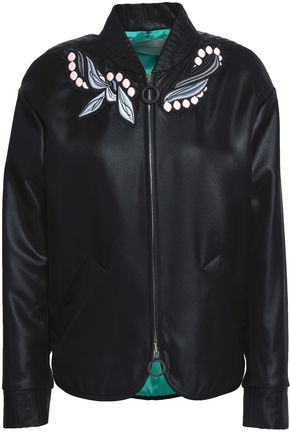MARCO DE VINCENZO Appliquéd satin bomber jacket