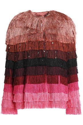 MARCO DE VINCENZO Striped fringed satin jacket