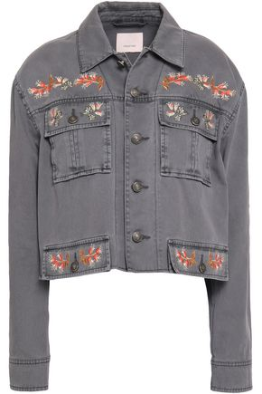 CINQ À SEPT Folk Canyon cropped embroidered denim jacket