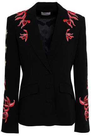 Cinq À Sept CINQ À SEPT WOMAN ORCHID PAX EMBROIDERED CREPE JACKET RED