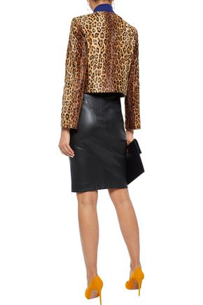 MILLY Cropped printed faux fur jacket