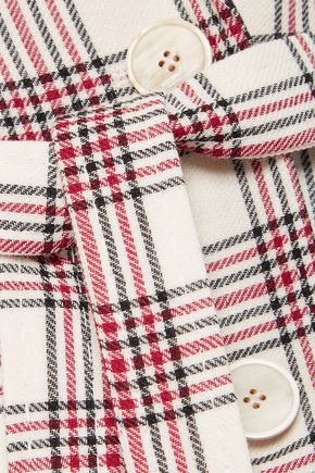 ANTONIO BERARDI Organza-paneled checked wool blazer