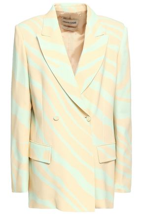 ROBERTO CAVALLI Double-breasted zebra-print stretch-crepe blazer