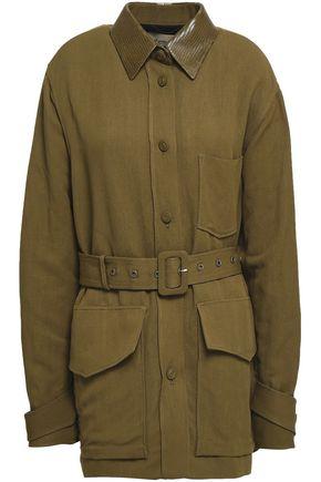 ROBERTO CAVALLI Lizard-effect leather-trimmed woven jacket