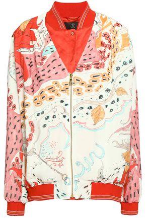 ROBERTO CAVALLI Satin-trimmed printed silk bomber jacket