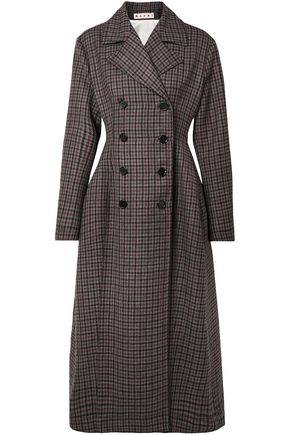 MARNI Double-breasted checked wool coat