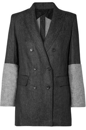 MAX MARA Double-breasted paneled linen blazer