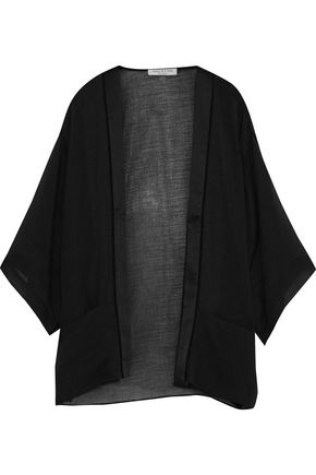 HALSTON HERITAGE Satin-paneled lace-trimmed cotton-blend gauze jacket