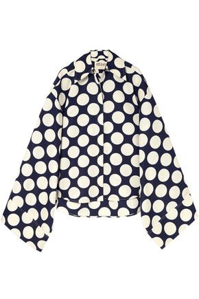 A.W.A.K.E. Cape-effect polka-dot twill top
