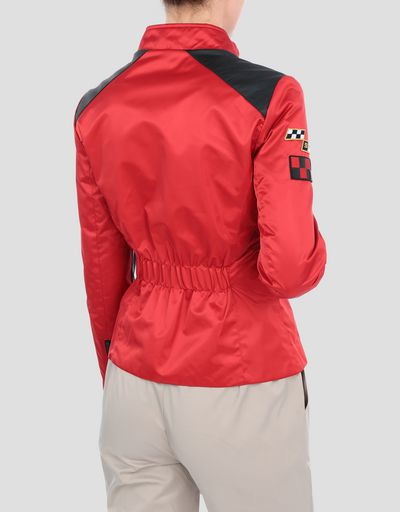 Everywhere Red women's nylon biker jacket