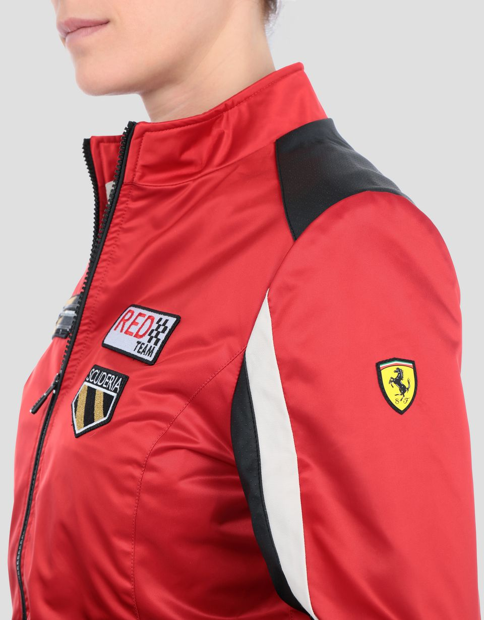 Scuderia Ferrari Online Store - Women's Everywhere Red nylon biker jacket - Bombers & Track Jackets